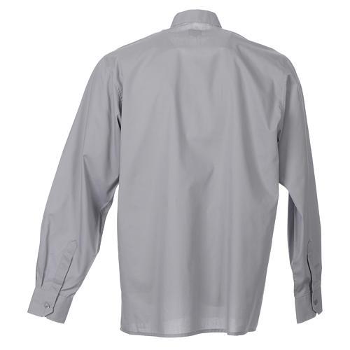STOCK Camicia clergyman manica lunga popeline grigio chiaro 2