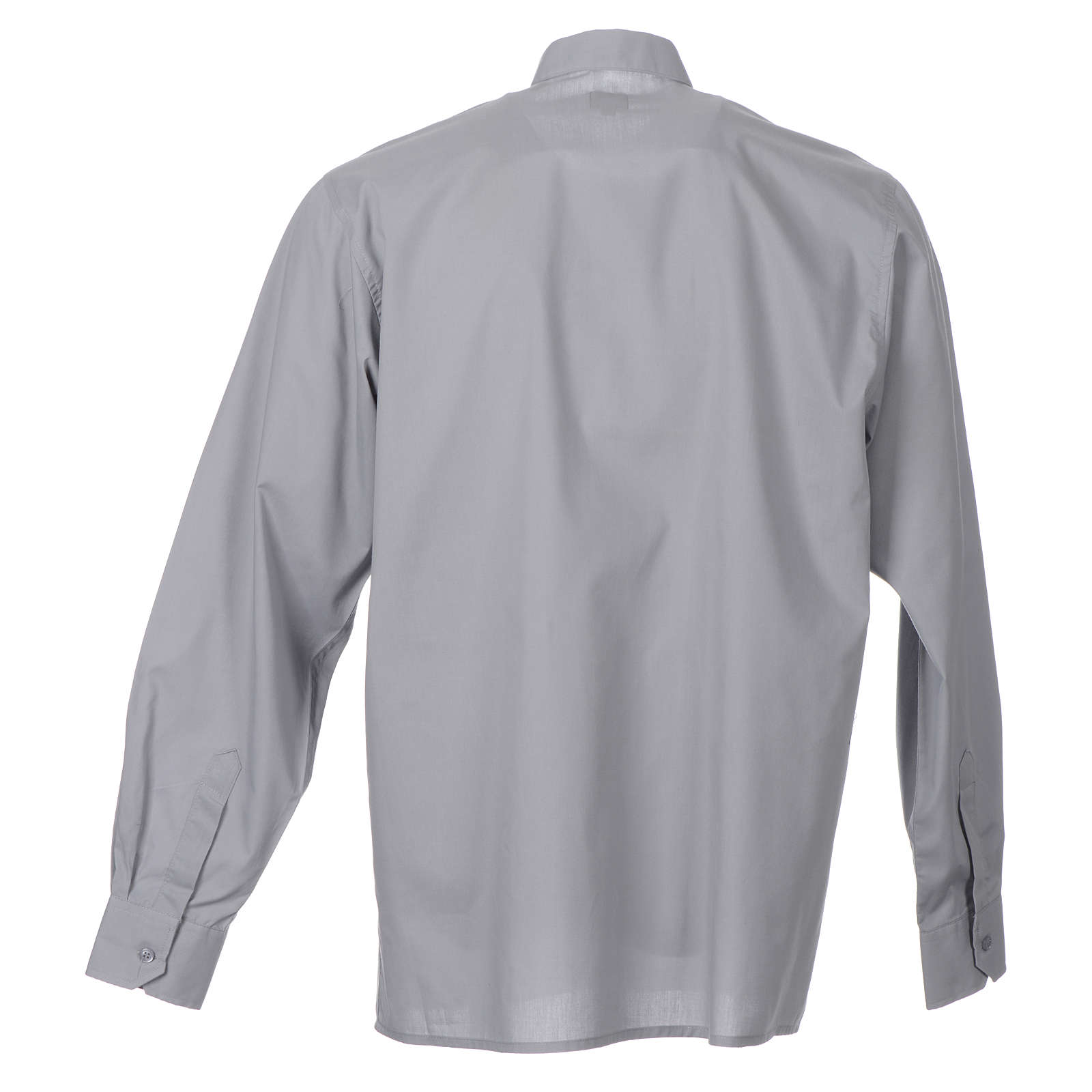 STOCK Light grey popeline clergyman shirt, long sleeves 4
