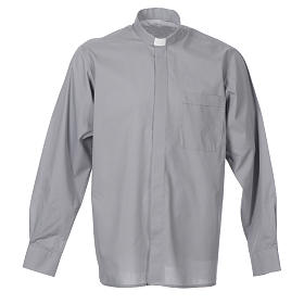 STOCK Light grey popeline clergyman shirt, long sleeves s1