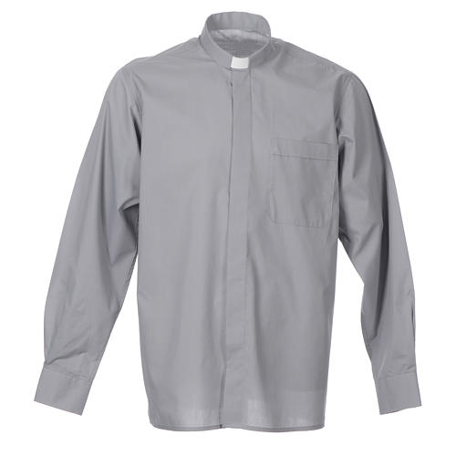STOCK Light grey popeline clergyman shirt, long sleeves 1
