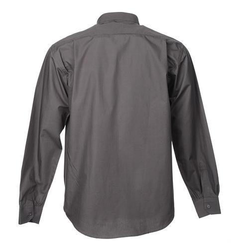 STOCK Camisa clergy de popelina manga larga gris oscuro 4