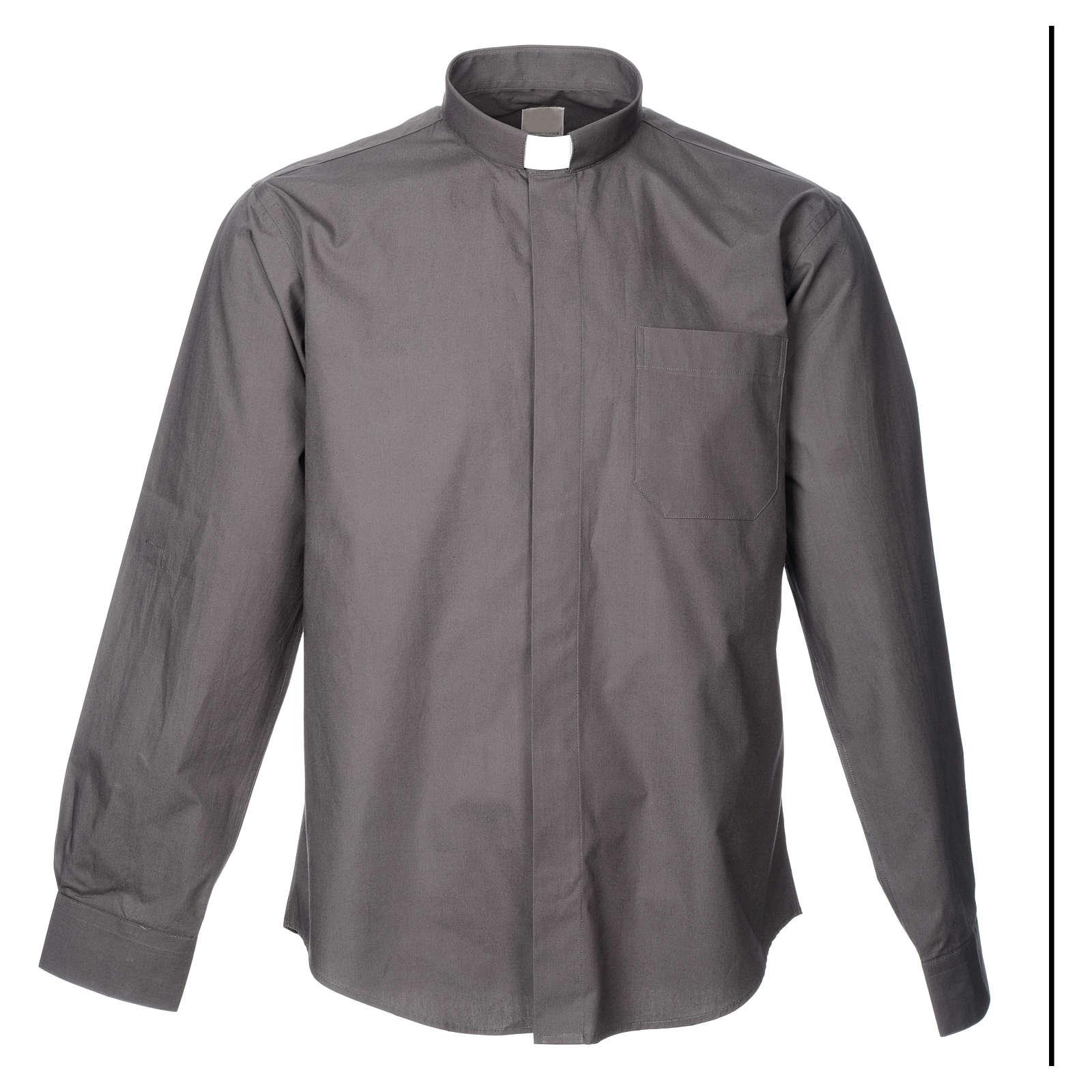 STOCK Camicia clergyman manica lunga popeline grigio scuro 4