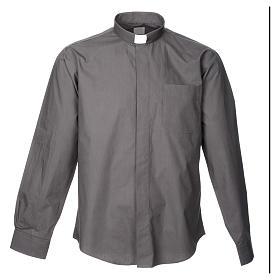 STOCK Camicia clergyman manica lunga popeline grigio scuro s3