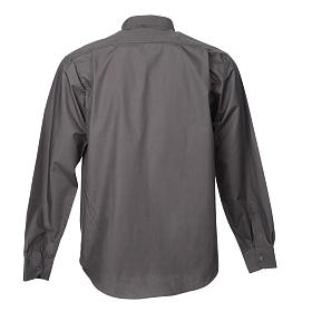 STOCK Camicia clergyman manica lunga popeline grigio scuro s4