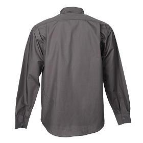 STOCK Camicia clergyman manica lunga popeline grigio scuro s2