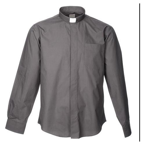 STOCK Camicia clergyman manica lunga popeline grigio scuro 3