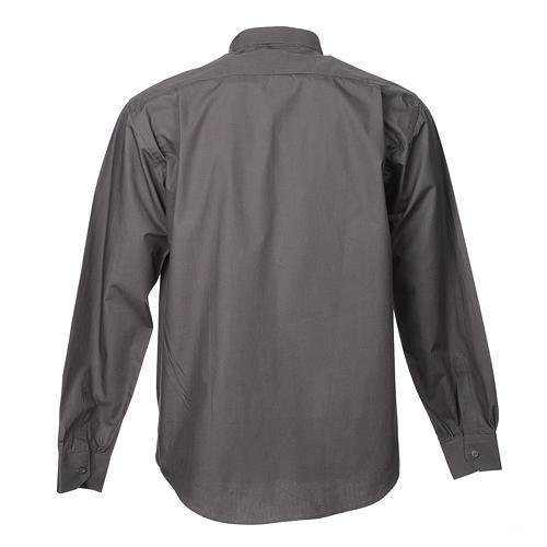 STOCK Camicia clergyman manica lunga popeline grigio scuro 2