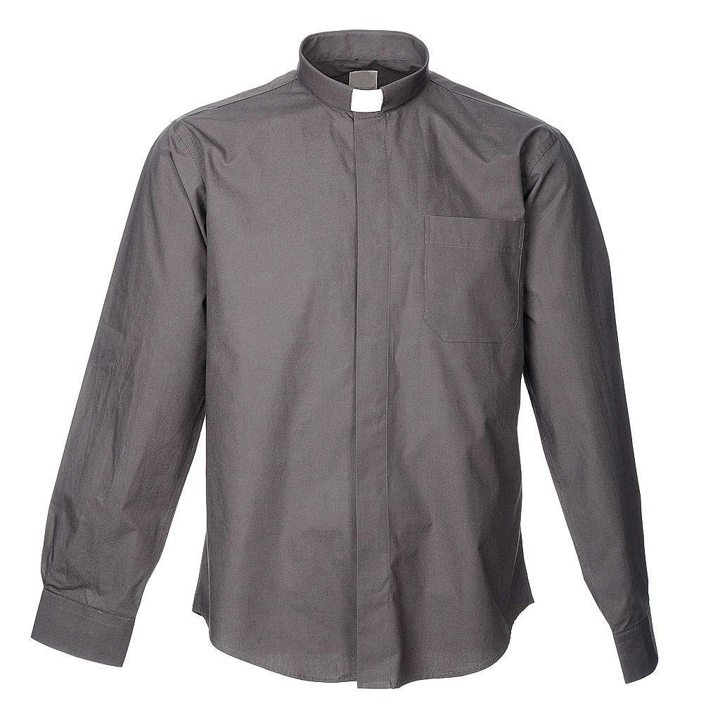 STOCK Koszula kapłańska długi rękaw popelina ciemnosza 4