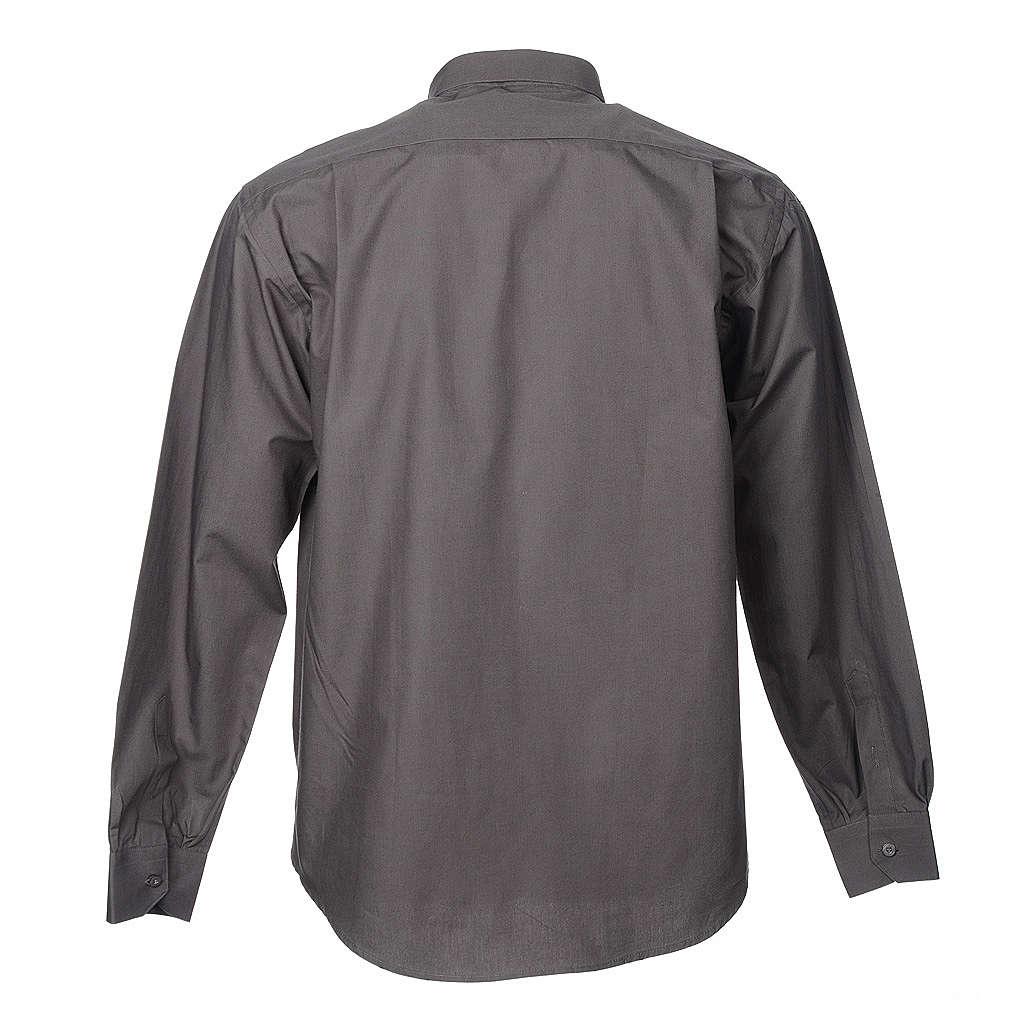 STOCK Camisa clergyman manga longa popeline cinzento escuro 4