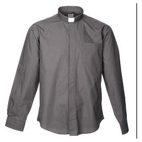 STOCK Camisa clergyman manga longa popeline cinzento escuro s3