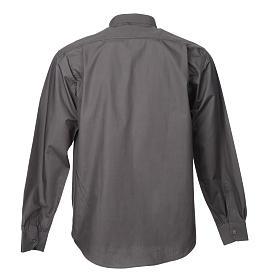 STOCK Camisa clergyman manga longa popeline cinzento escuro s4