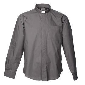 STOCK Camisa clergyman manga longa popeline cinzento escuro s1