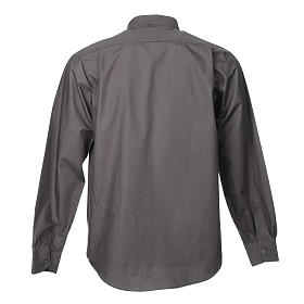 STOCK Dark grey popeline clergyman shirt, long sleeves s2