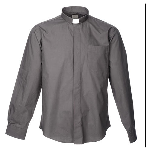 STOCK Dark grey popeline clergyman shirt, long sleeves 3