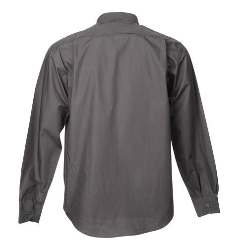 STOCK Dark grey popeline clergyman shirt, long sleeves 4