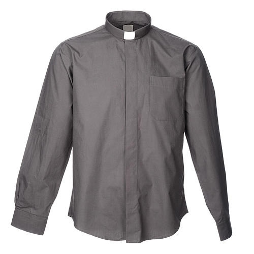 STOCK Dark grey popeline clergyman shirt, long sleeves 1