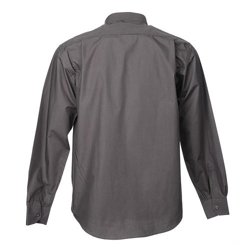 STOCK Dark grey popeline clergyman shirt, long sleeves 2