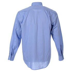 STOCK Clergyman shirt in fil-a-fil light blue cotton, long sleeves s2