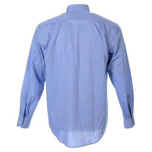 STOCK Clergyman shirt in fil-a-fil light blue cotton, long sleeves 2