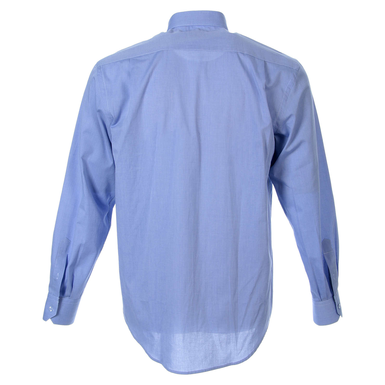 STOCK Clergyman shirt in fil-a-fil light blue cotton, long sleeves 4