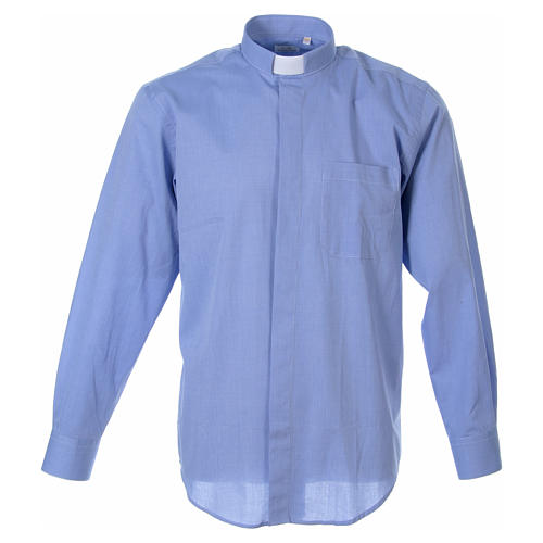 STOCK Clergyman shirt in fil-a-fil light blue cotton, long sleeves 1