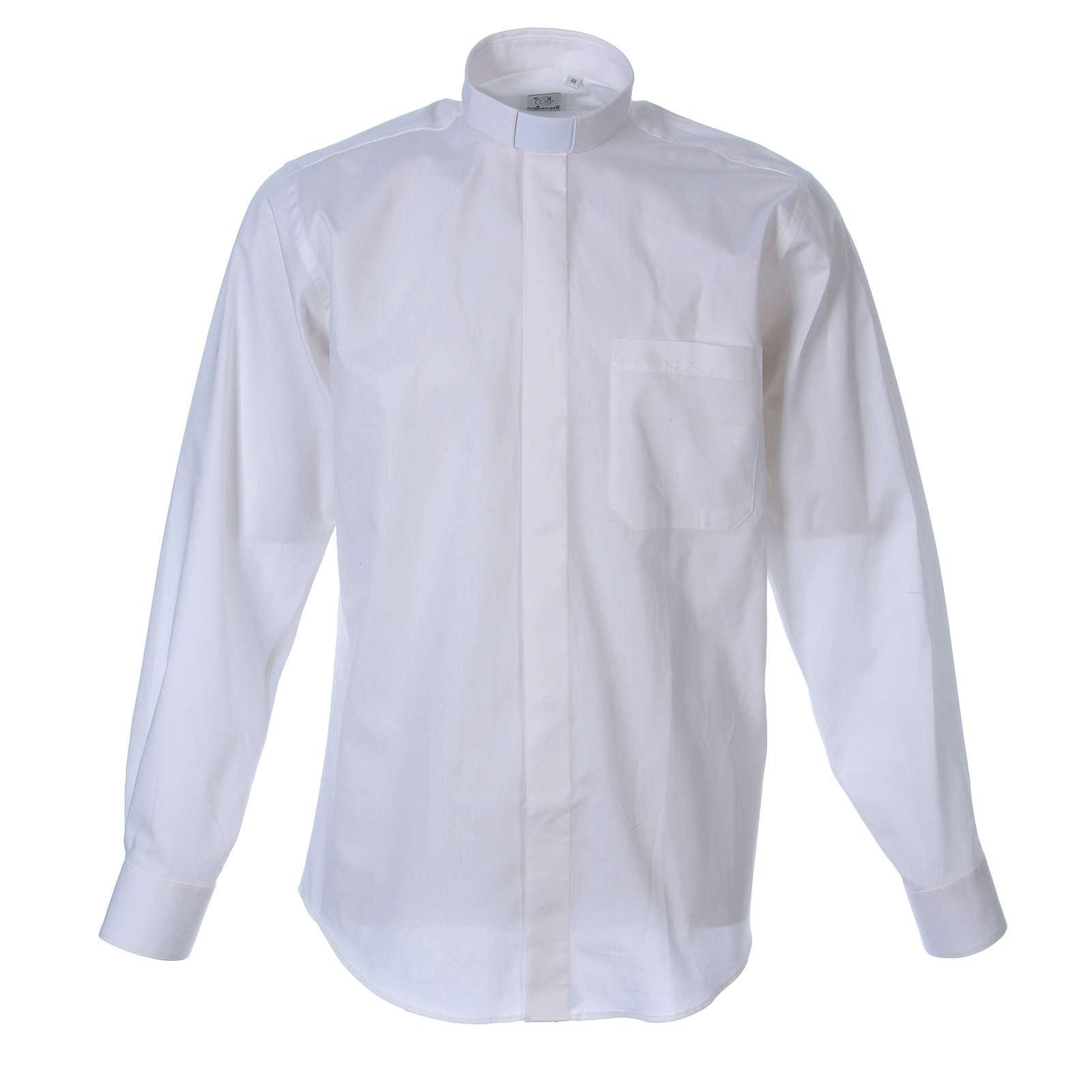 STOCK Camicia clergy manica lunga popeline bianca 4