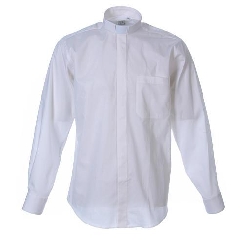 STOCK Camicia clergy manica lunga popeline bianca 1