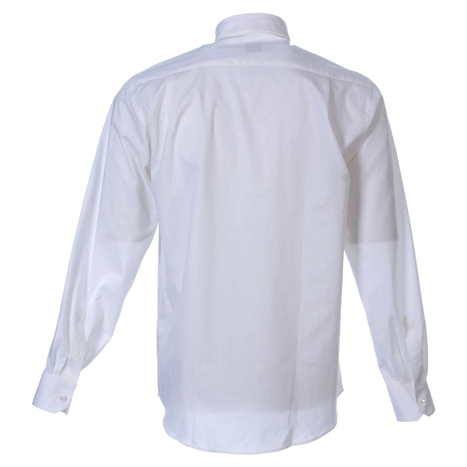 STOCK Clergyman shirt in white popeline cotton, long sleeves 4