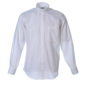 STOCK Clergyman shirt in white popeline cotton, long sleeves s1