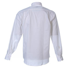 STOCK Clergyman shirt in white popeline cotton, long sleeves s2