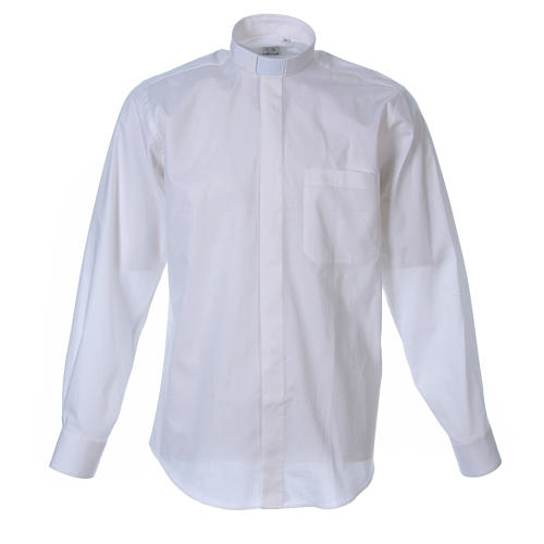 STOCK Clergyman shirt in white popeline cotton, long sleeves 1