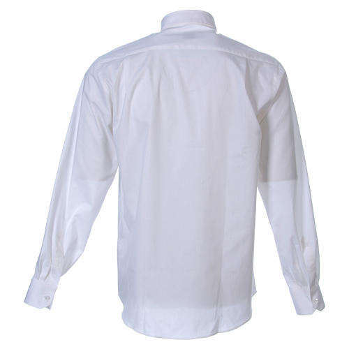 STOCK Clergyman shirt in white popeline cotton, long sleeves 2