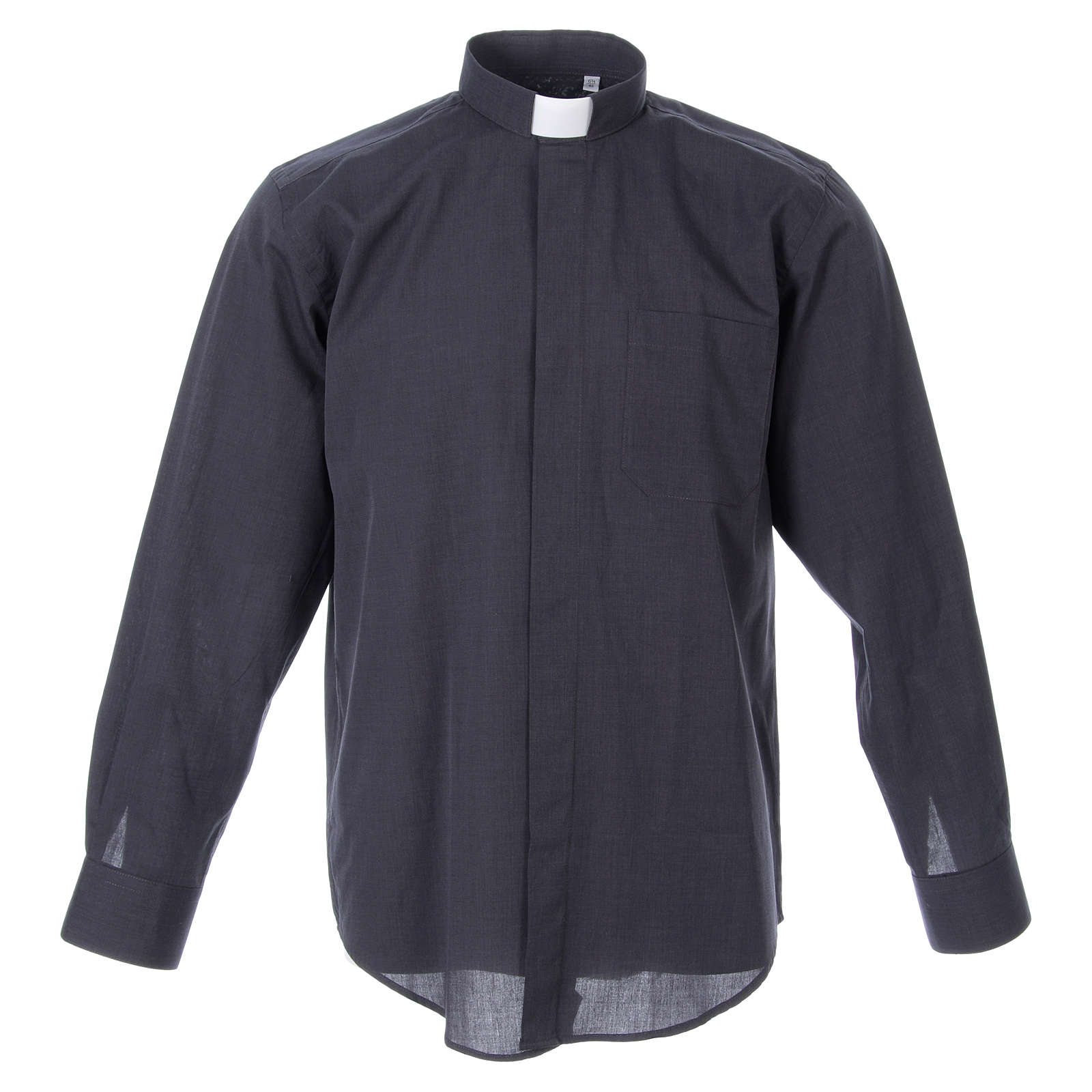 STOCK Camicia clergy manica lunga filafil grigio scuro 4