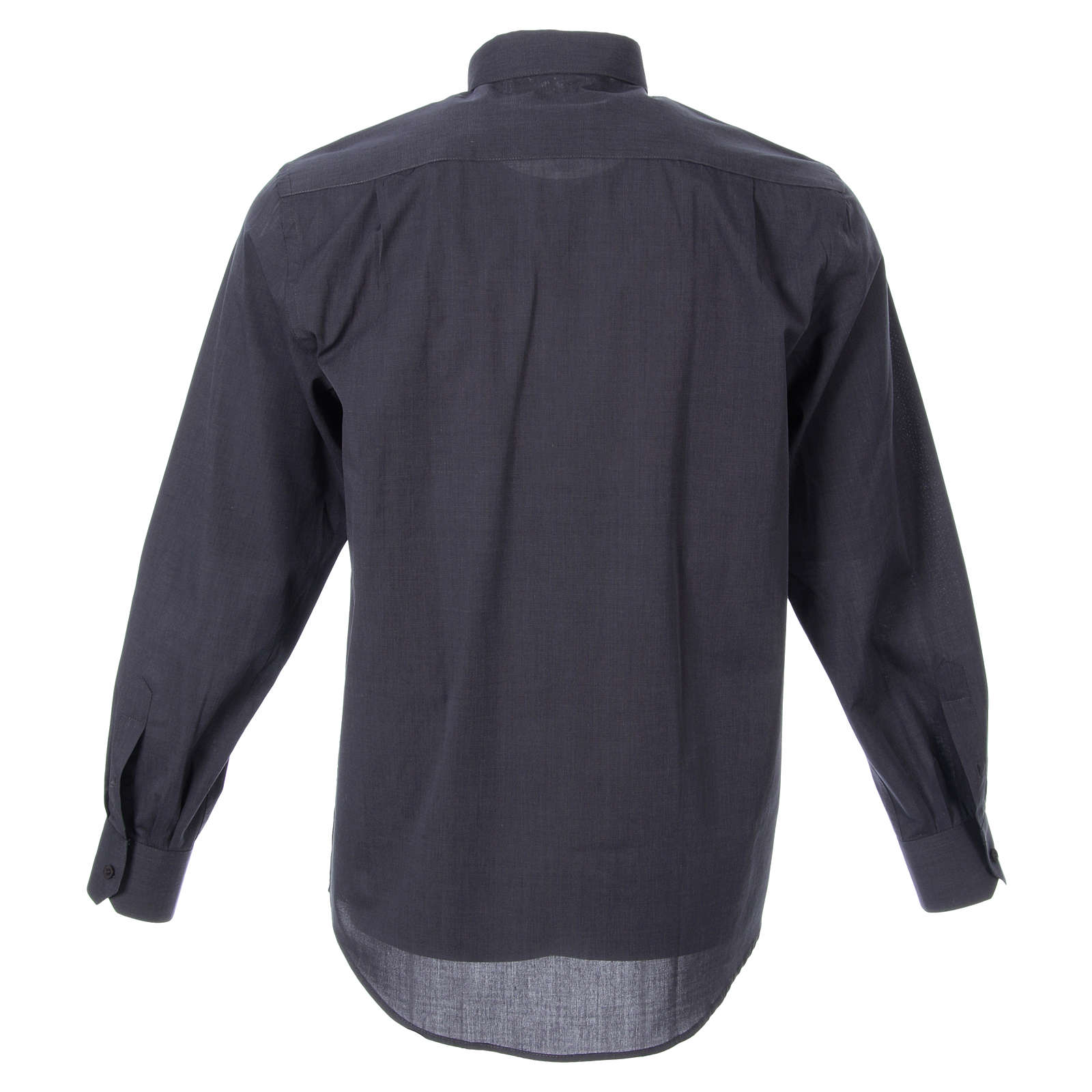 STOCK Clergyman shirt in dark grey fil-a-fil cotton, long sleeves 4