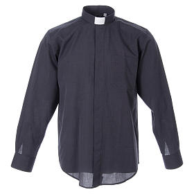 STOCK Clergyman shirt in dark grey fil-a-fil cotton, long sleeves s1
