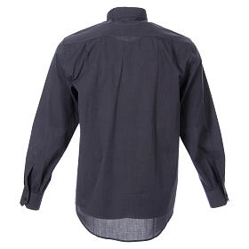 STOCK Clergyman shirt in dark grey fil-a-fil cotton, long sleeves s2