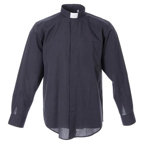 STOCK Clergyman shirt in dark grey fil-a-fil cotton, long sleeves 1