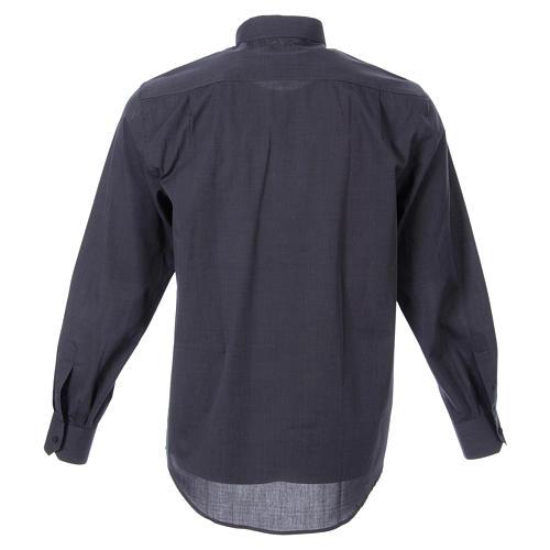 STOCK Clergyman shirt in dark grey fil-a-fil cotton, long sleeves 2