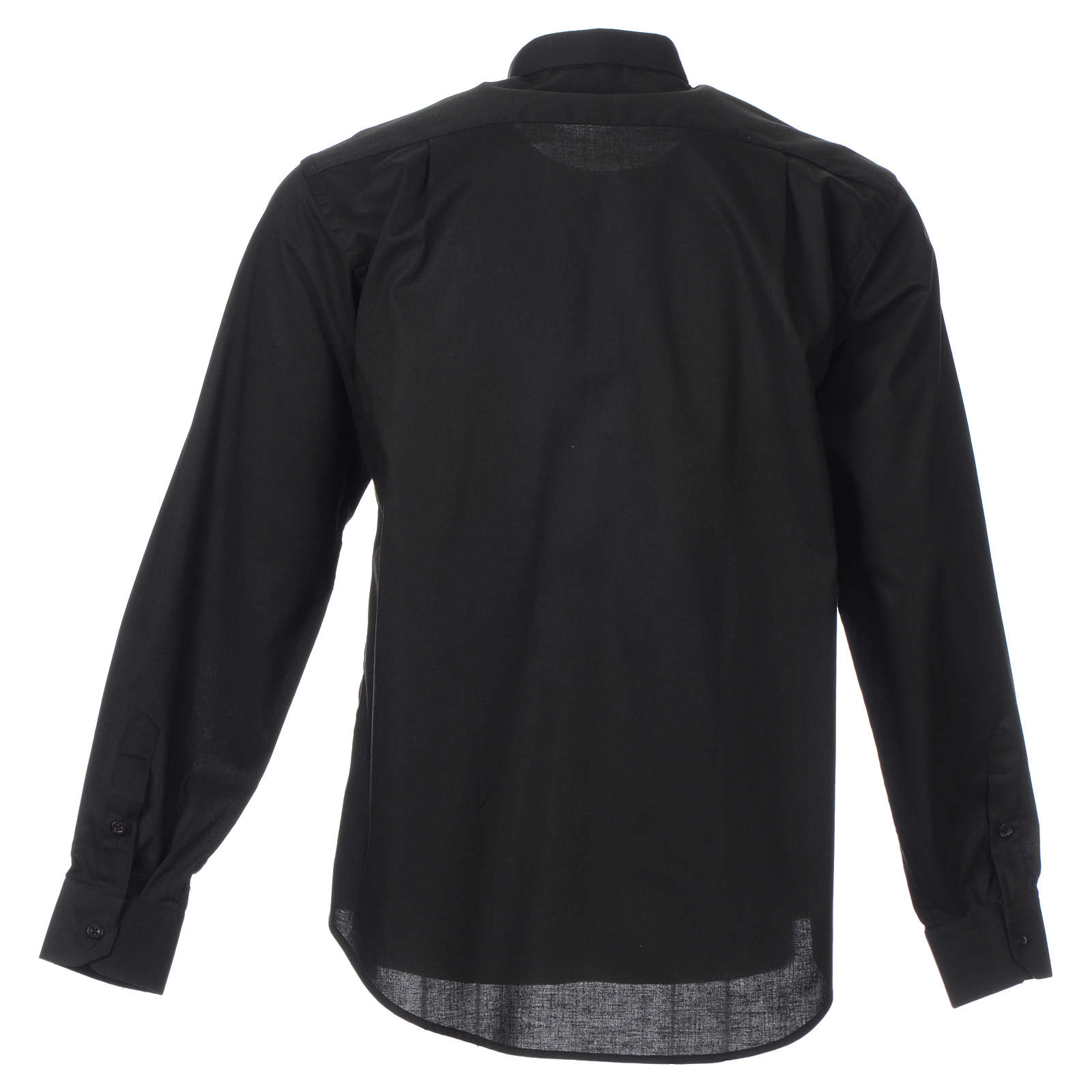 STOCK Camicia clergyman manica lunga misto nera 4