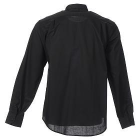 STOCK Camicia clergyman manica lunga misto nera s2