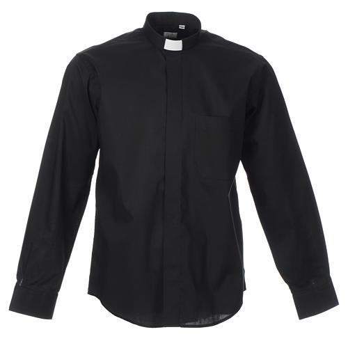 STOCK Camicia clergyman manica lunga misto nera 1