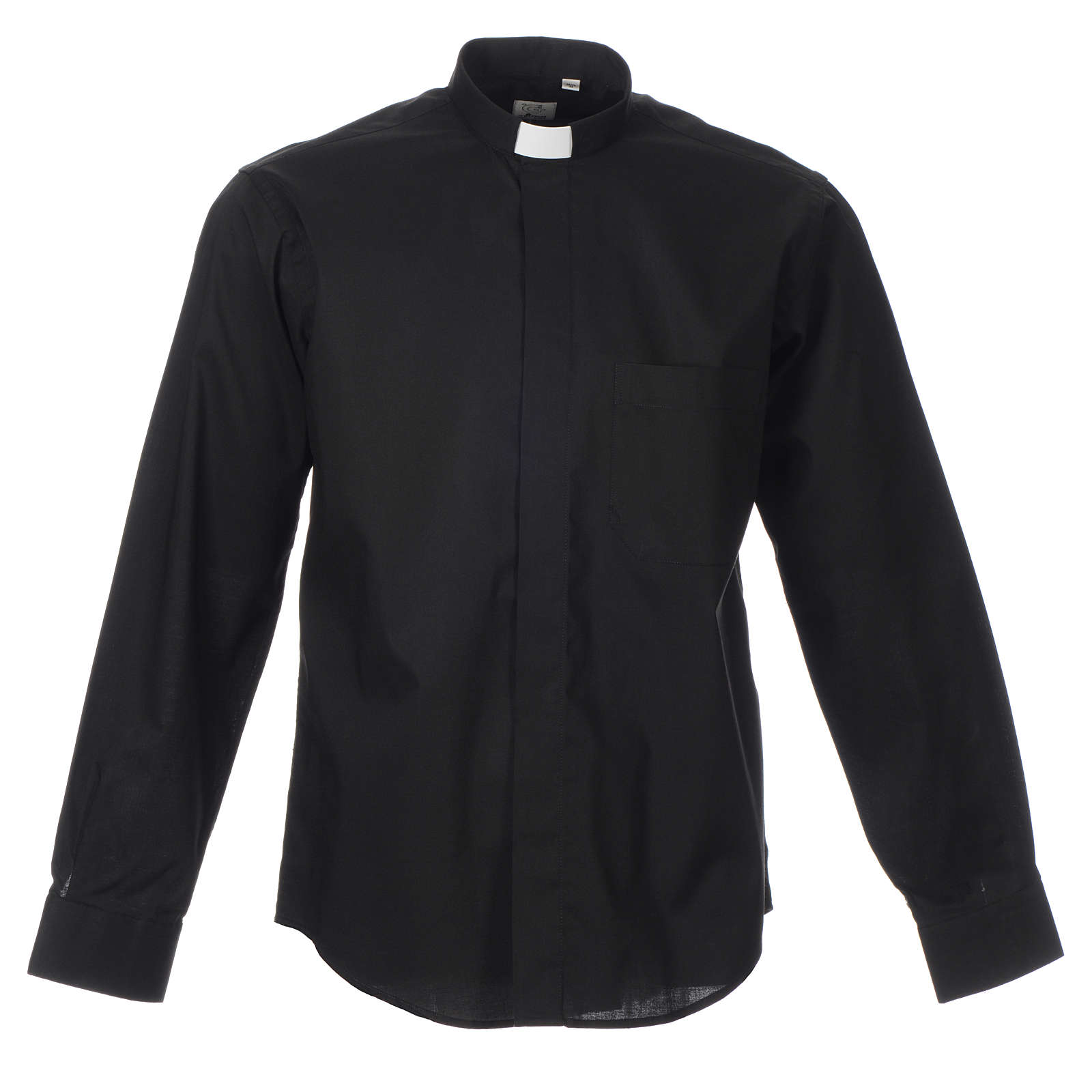 STOCK Clergy shirt, long sleeves in black mixed cotton 4