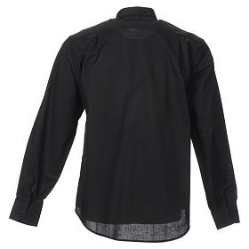 STOCK Clergy shirt, long sleeves in black mixed cotton s2