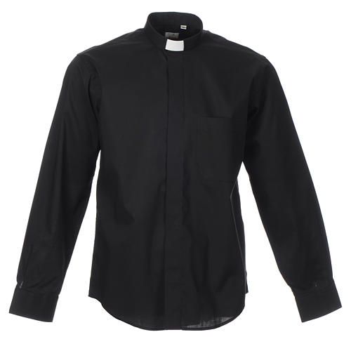 STOCK Clergy shirt, long sleeves in black mixed cotton 1