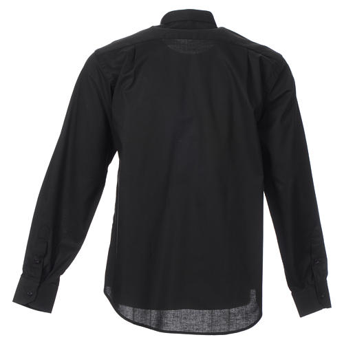 STOCK Clergy shirt, long sleeves in black mixed cotton 2