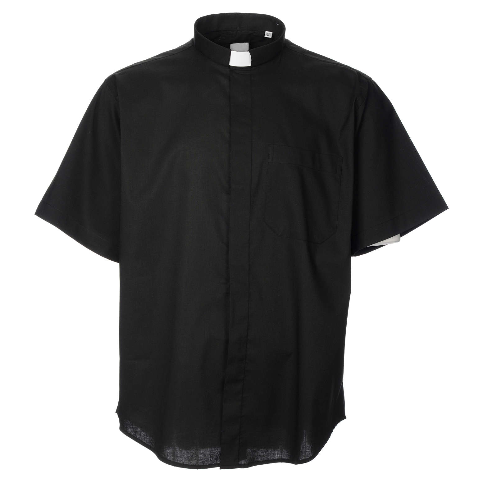 STOCK Clergy shirt, short sleeves in black poly cotton 4