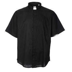 Camisas Clergyman: STOCK Camisa manga corta mezcla algodón negra