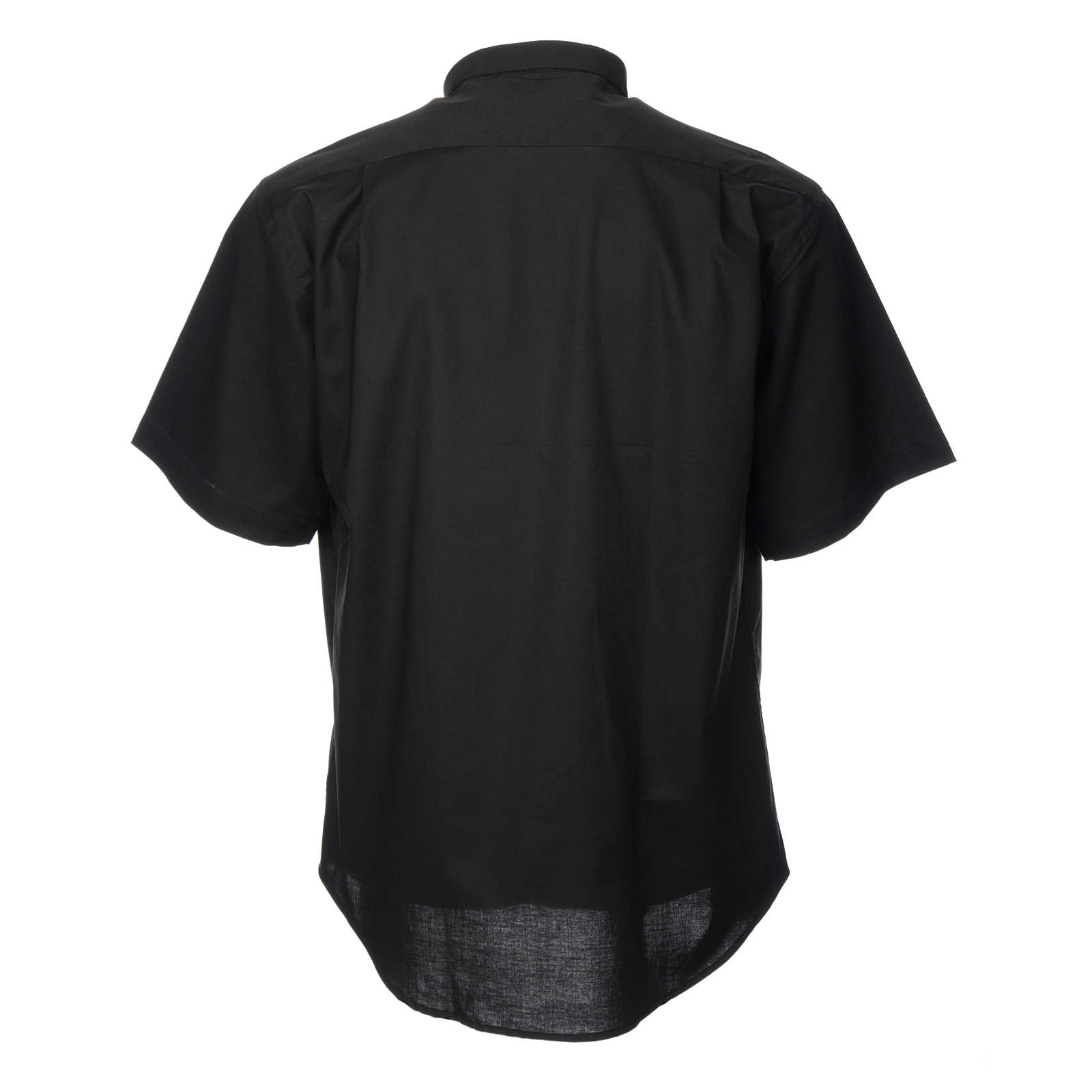 STOCK Camicia clergyman manica corta misto nera 4