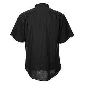 STOCK Camicia clergyman manica corta misto nera s2