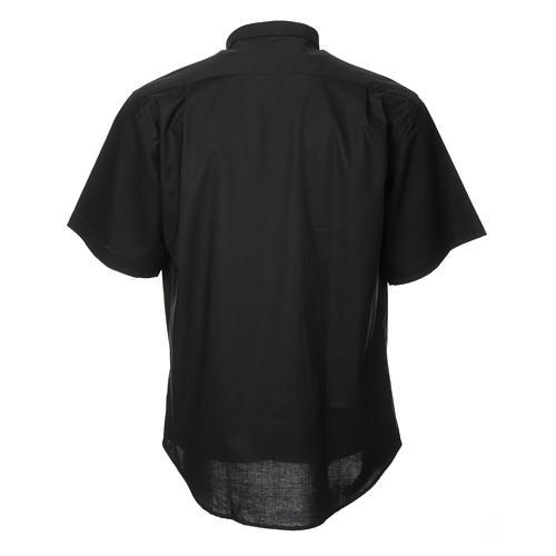 STOCK Camisa clergyman manga curta misto preto 2